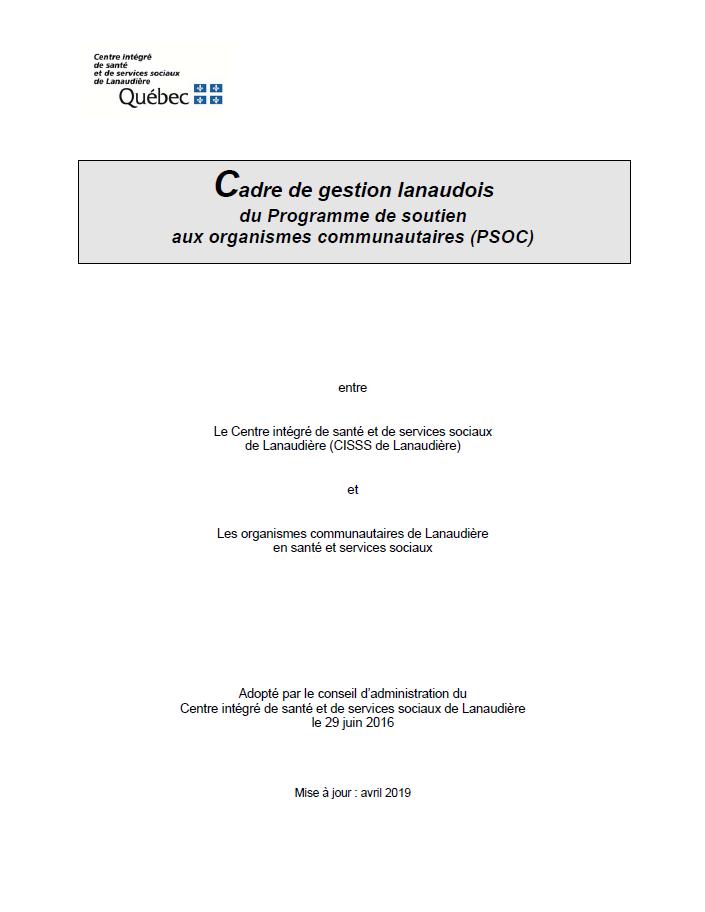 Page couverture du Cadre de gestion lanaudois du PSOC