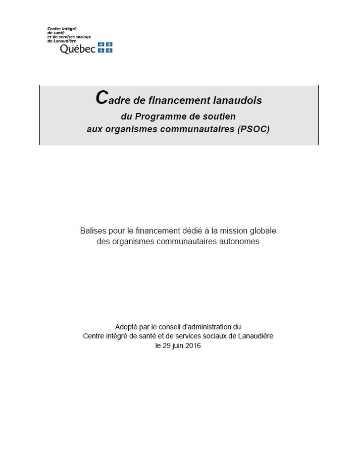 Page couverture du Cadre de financement lanaudois du PSOC