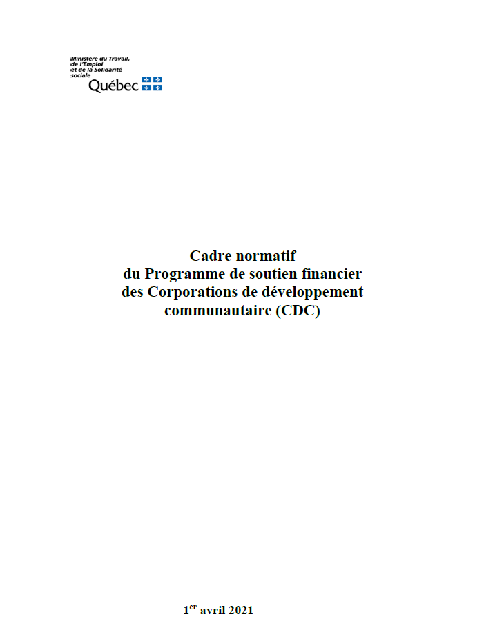 Page couverture du Cadre normatif des CDC du MTESS.