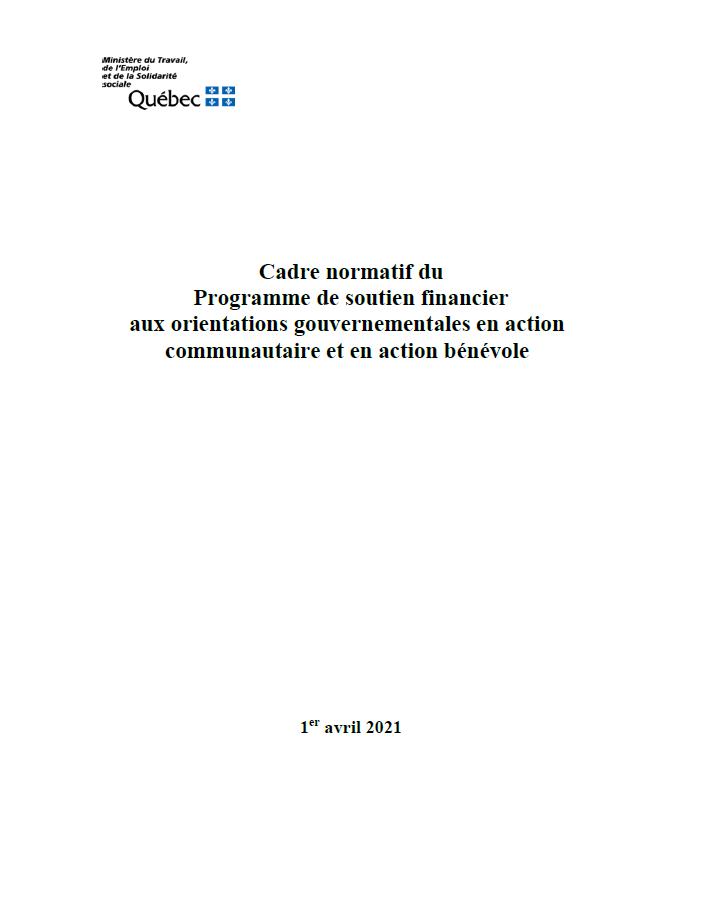 Page couverture du Cadre normatif pour les organismes en défense collective des droits du MTESS