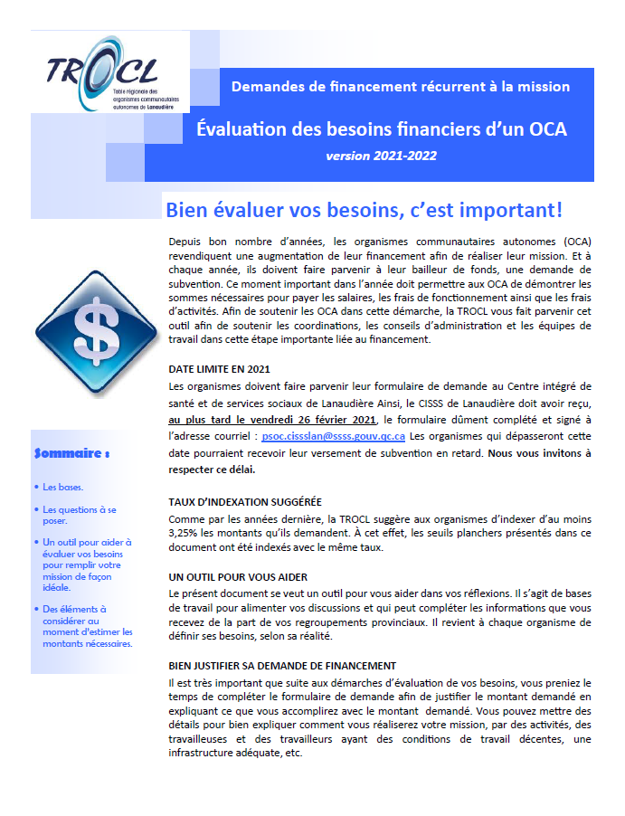 Page couverture - document sur l'évaluation des besoins financiers des organismes communautaires autonomes
