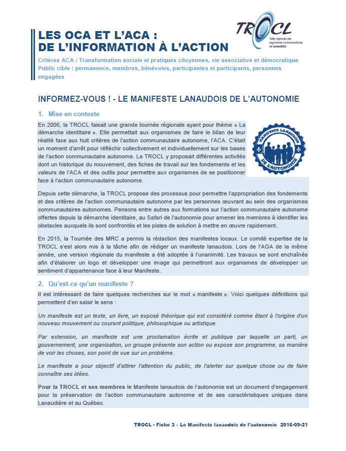Page couverture - Fiche de l'OCA à l'ACA - Manifeste lanaudois de l'autonomie