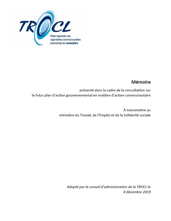 Page couverture du mémoire déposé par la TROCL dans le cadre du PAGAC
