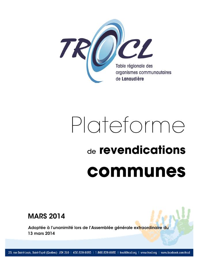 Page couverture de la Plateforme de revendications communes de la TROCL.