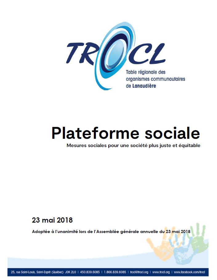 Page couverture de la Plateforme sociale de la TROCL