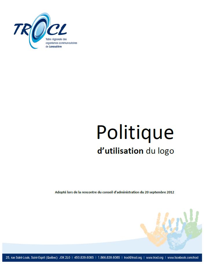 Page couverture de la Politique d'utilisation du logo de la TROCL