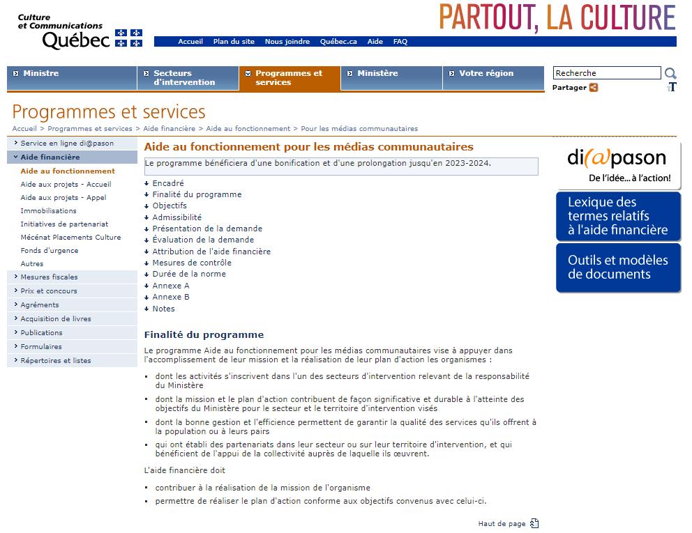Page couverture de la page Web du Programme d'aide au fonctionnement des médias communautaires du MCC