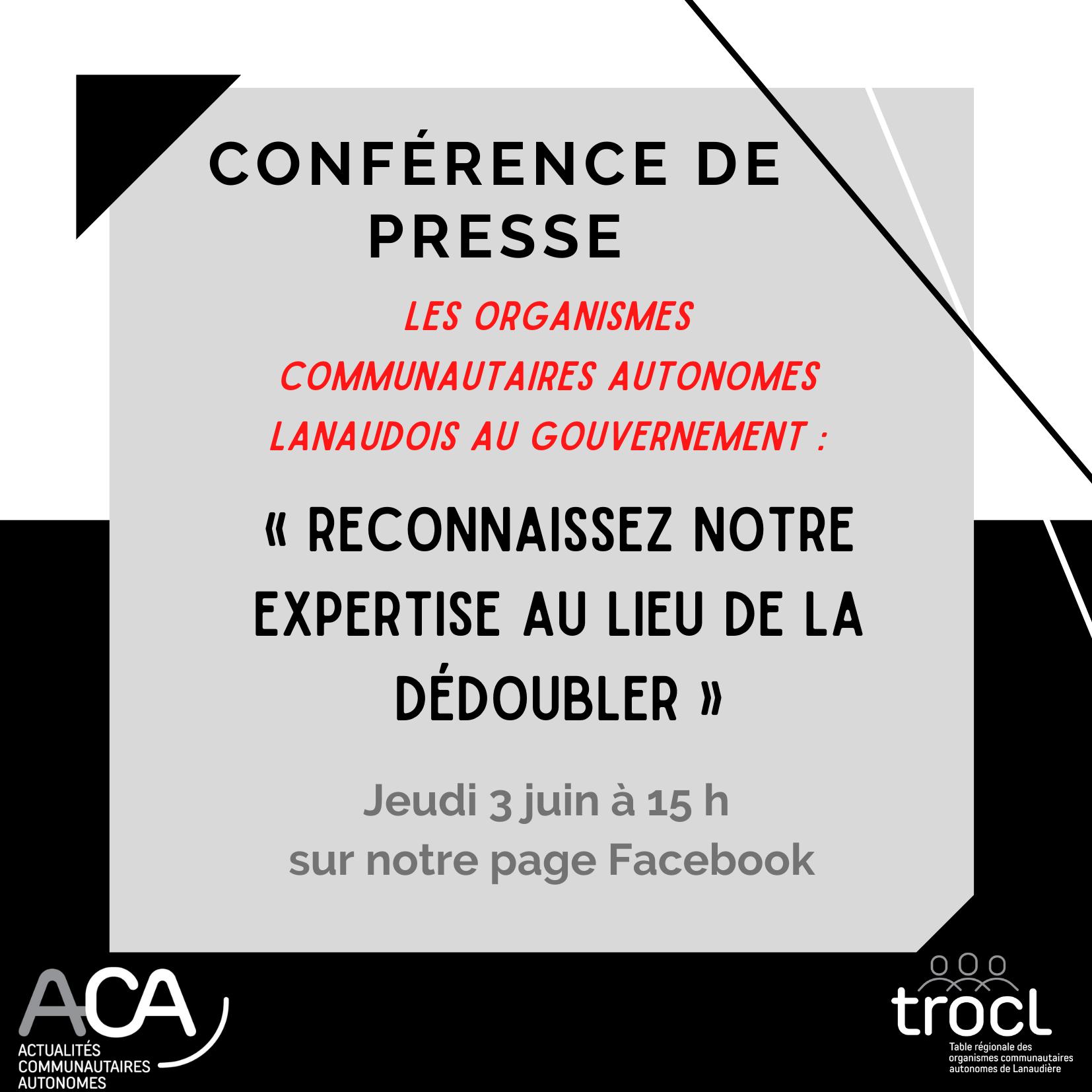 Vignette de la conférence de presse Les organismes communautaires autonomes lanaudois au Gouvernement : Reconnaissez notre expertise au lieu de la dédoubler